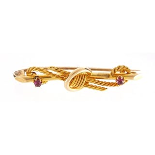 15ct gold ruby bar brooch, 4.5cm in length, approximate weig...