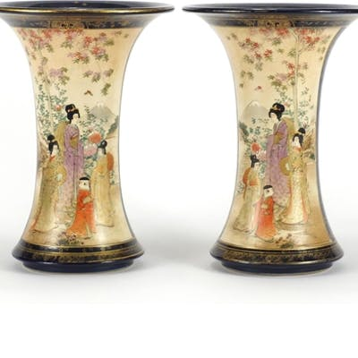 Pair of Japanese Satsuma pottery vases, each hand painted wi...