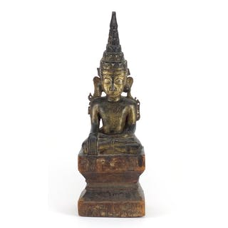 17th/18th century Burmese lacquered wood carving of Buddha, ...