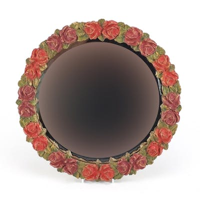 Circular barbola wall hanging mirror with bevelled glass, ha...