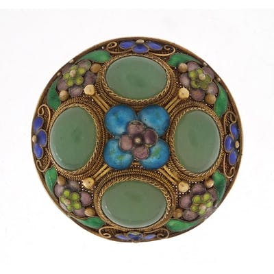 Chinese silver gilt and enamel brooch set with four green ja...