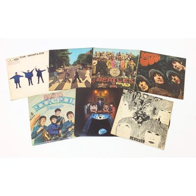 Seven Beatles vinyl LP's including Sgt. Pepper's Lonely Hear...
