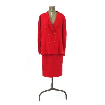 Valentino red wool two piece jacket and skirt suit, size 14