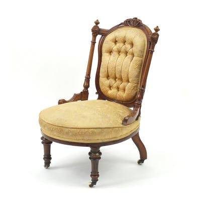 Victorian walnut nursing chair with gold button back floral ...