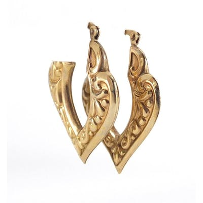 Pair of Victorian style 9ct gold earrings, 3.5cm in length, ...