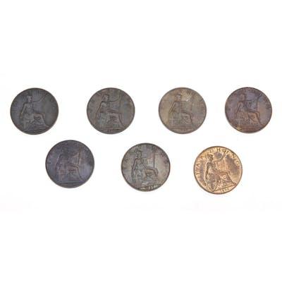 Seven Queen Victoria farthings comprising dates 1895, 1896, ...