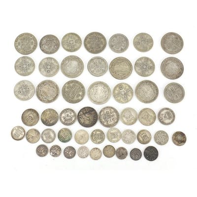 Predominantly British pre decimal 1947 coinage including hal...
