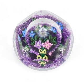 Scottish Borders art glass flower head paperweight by Peter ...