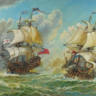 Andrew Kennedy - Battleships on choppy seas, oil on canvas, ...