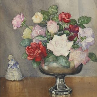 F W Ayling - Roses from my Garden, Ealing & Acton, watercolo...