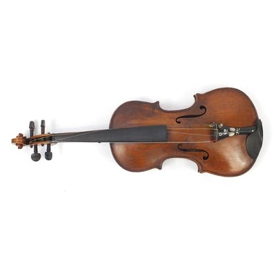 Old wooden violin with one piece back, bow and protective ca...