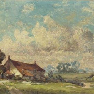 Kenneth Denton - Norfolk cottages, oil on board, inscribed v...