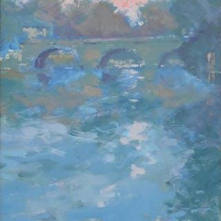 Oliver Byrne Warman - Folly Bridge, Oxford, oil on board, si...
