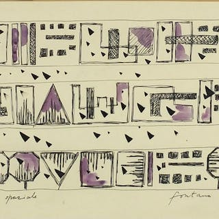 After Lucio Fontana - Abstract composition, ink and watercol...