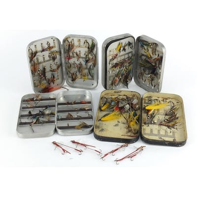 Collection of vintage hand tied fishing flies, housed in thr...