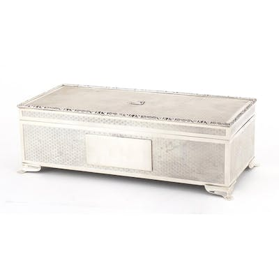 Good quality rectangular silver cigar box with engine turned...