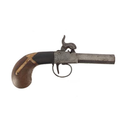 Antique Percussion cap pistol with octagonal barrel, 17.5cm ...