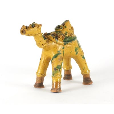 Turkish Canakkale pottery camel ewer, having a yellow and gr...