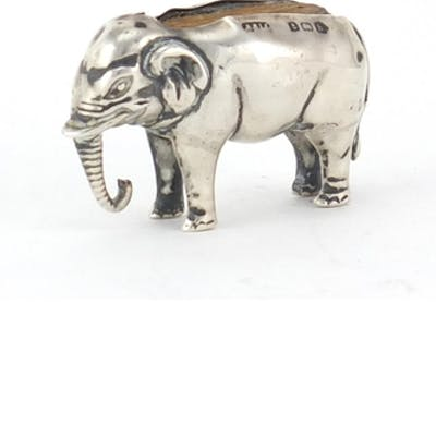 Novelty silver pin cushion in the form of an elephant by Adi...