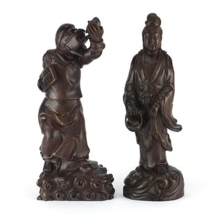 Two Chinese hardwood carving including an example of Guanyin...