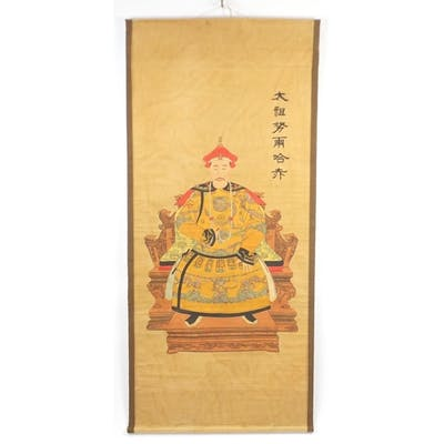 Chinese hand painted wall hanging scroll depicting a Chinese...
