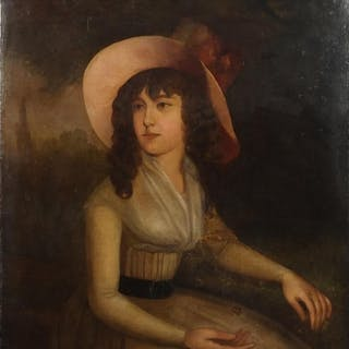 Portrait of a young female wearing a hat before a landscape,...