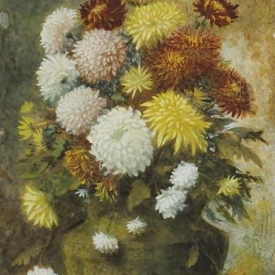 James Stevens Hill - Still life Chrysanthemums, watercolour,...