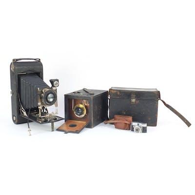 Three vintage cameras including a Kodak No 2 Bulls-I Special...