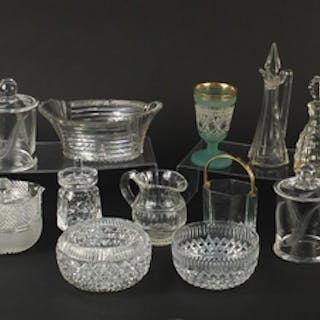 Cut crystal and glassware including a Georgian decanter, pre...