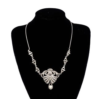 18ct white gold cocktail necklace set with a central pearl a...