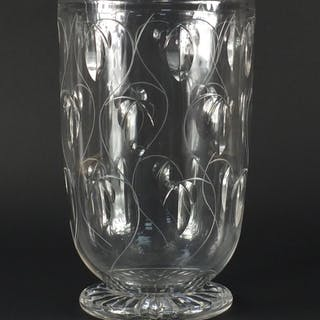 Large Stuart crystal glass vase, engraved with stylised flow...