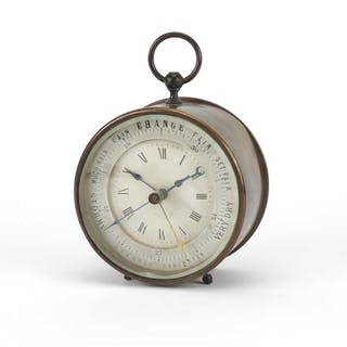 Brass cased desk clock and aneroid barometer, 12cm high