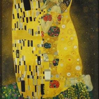 After Gustav Klimt - The Kiss, oil on board, framed, 60cm x ...