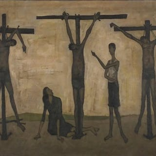 Crucifixion, oil on board, bearing an indistinct inscription...