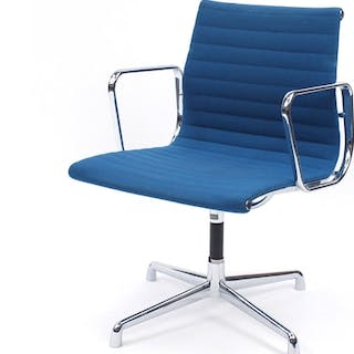 Charles and Ray Eames EA107 design desk chair with turquoise...