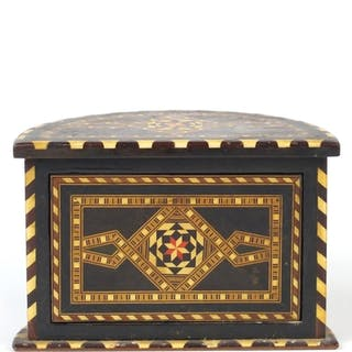 Vizagapatam style playing card box, 12cm H x 18cm W x 10cm D