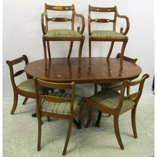 Yew Wood Dining Chairs On Sabre Supports 2 Carvers 4 Side Current Sales Barnebys