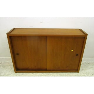 Retro Teak Wall Cabinet With Pair Wooden Sliding Doors Inte