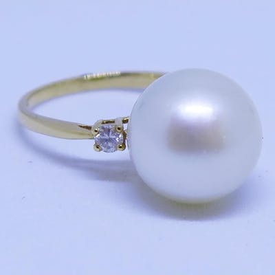 A 14ct Yellow Gold, South Sea Pearl and Diamond Ring, size K...
