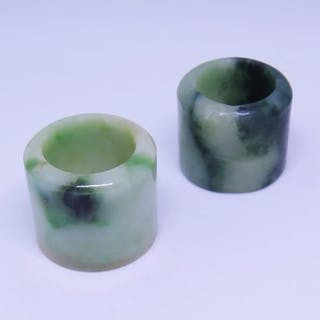 Two 19th Century Chinese Jadeite Archer Rings
