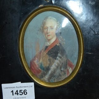 19th Century oval portrait miniature on ivory of Bonny...