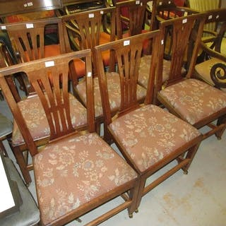 Set of six George III provincial mahogany dining chairs with pierced splat backs