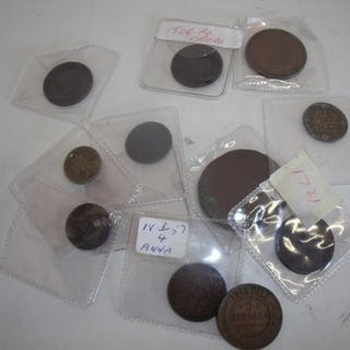 Selection of Georgian and Victorian copper coinage, various ...