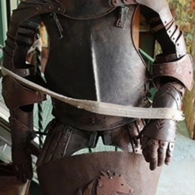 Reproduction Suit of Armour with fully enclosed helmet, comp...