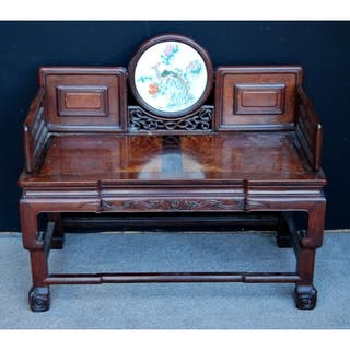 Chinese Two Seater Wooden Sofa With Walnut Inlay To Seat Ca