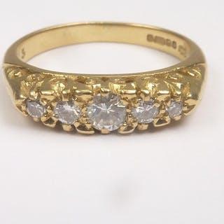 Diamond five stone ring with graduated brilliants in 18ct go...