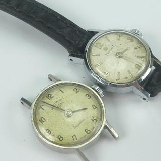 Ladies vintage Tissot watch, stainless steel with leather st...