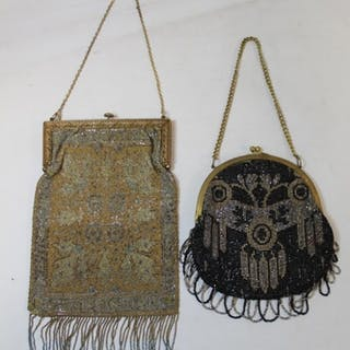 French early 20th Century lady's evening bag with floral dec...