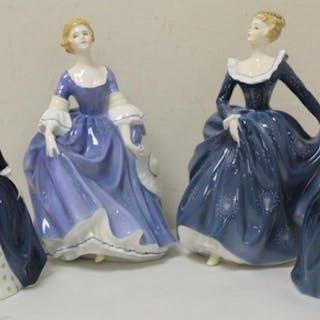 Four Royal Doulton figures; Hilary HN2335, Fragrance HN2334,...