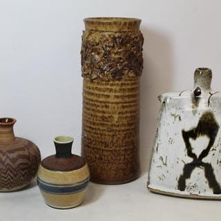 Four pieces of studio pottery including trapezoid vase with ...